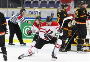 MALMO, SWEDEN - DECEMBER 26: Canada's #28 Anthony Mantha netted his second of the game as Canada took the lead against Germany during preliminary round action at the 2014 IIHF World Junior Championship. Photo Credit: Francois Laplante